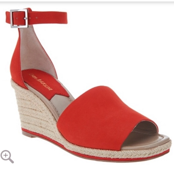 large discount new authentic available Enzo Angiolini-Red Wedge Espadrille Sandals NWT